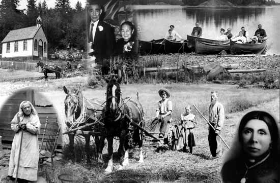 collage of historical images on Saltspring
